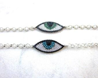 Thick chain evil eye bracelet, big sterling silver eye CZ charm bracelet, modern protection talisman, layering armband with sparkling stones