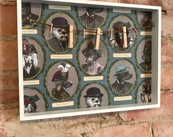 Notice Board/Photo Board/Peg Board Character Dogs Antiquarian Victorian Dogs
