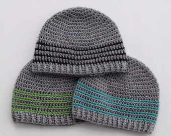 Striped Winter Beanie | Boys Mens Hat | Crochet Striped Hat | Winter Hat | All Sizes | Gray Striped Hat | Winter Cap | Ear Warmer Hat