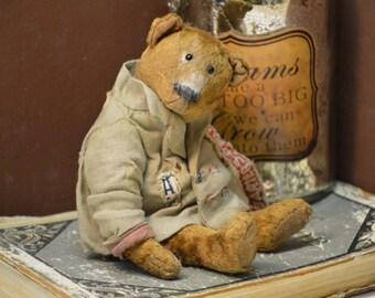 SOLD Artist Teddy Bear OOAK antique teddy bear vintage toy Plush Sawdust Soft sculpture Teddy Bear to order Сlassic teddy bear