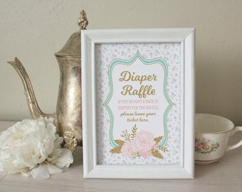 Diaper Raffle Sign & Tickets for Tea Party Baby Shower: Games - Tea for the Mom-to-Be - 5 x 7 and 8 x 10 Diaper Raffle Card and Decoration