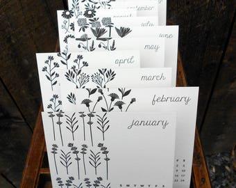 SALE Botanicals 2018 Letterpress Desk Calendar