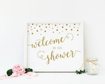 Pink and Gold Baby Shower Welcome Sign, Welcome Baby Shower Sign, Welcome To Shower, Pink and Gold Glitter, Printable - CG2