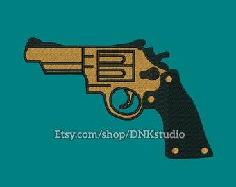 Handgun Pistol Revolver Embroidery Design - 5 Sizes - INSTANT DOWNLOAD