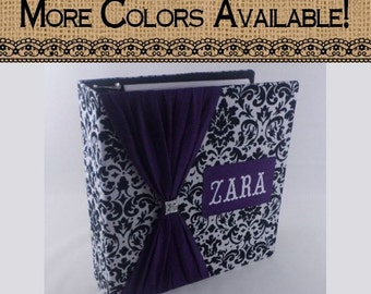 Wedding Photo Album Personalized Bridal Shower gift Baby Photo Album Personalized Photo Album 4x6 5x7 8x10 picture Black Damask Purple Z