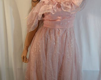 1970s Candi Jones California Pink Floral Off the Shoulder Prom Gown Dress