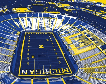 University of Michigan art, The Big House, Michigan Wolverines, Ann Arbor, Stadium Art, wall art, blue and gold, football, graduation gift