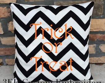 Personalized Monogrammed Embroidered Black and White Large Chevron Linen Pillow Cover 18x18