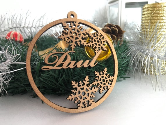 Personalised Bauble Wooden Name Bauble Christmas gift tags Tree ornament Christmas tree decorations Wooden snowflake Xmas wood ornaments