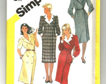 6077 Simplicity Sewing Pattern Double Breasted Dress Size 8 Vintage 1980s