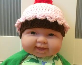 Pink Crochet Cupcake Baby Beanie
