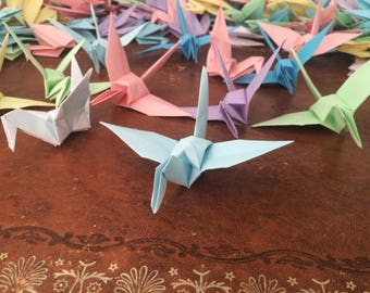 Origami Paper Cranes 9cm X 50 Pastel Colour Mix - Origami Birds - Folded Paper Birds - Wedding Decoration - Baby Shower - Paper Decorations