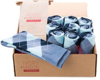 Groomsmen Socks Kit - Baby Blue Argyle - Premium Cotton - 10 Pairs