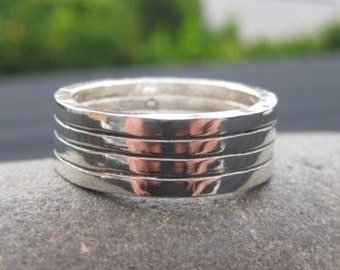 mans wedding band or everyday band . thick sterling silver mans ring . (( Quad )) . hand made mans ring . custom made to order in your size