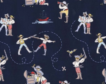 A Pirates Life in Navy Blue Fabric from Best of Sarah Jane for Michael Miller Fabrics (Children at Play reprint)