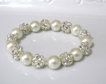 Sale, Ivory pearl bracelet with crystal hinestone balls,  bridal bracelet, bridesmaids bracelet, wedding jewelry