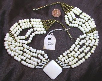 One 20 Inch Multi-Strand Bone Necklace- Six White Bone Strands w/ Diamond Shaped Focal & Brass Spacer Beads- Made in India- 1970's/ 1980's