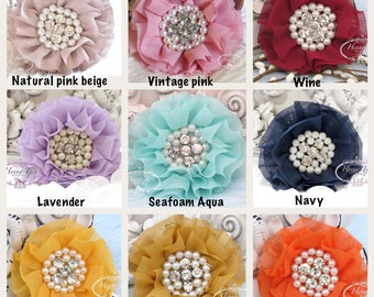 Reilly Chiffon Flowers: Soft Chiffon Ruffled Fabric Flowers (FLAT on the BACK) with Rhinestones Pearls - Layered Bouquet fabric flowers