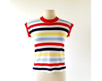 70s Striped Top | Soda Pop Stripe | 1970s Shirt | S M