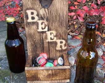 Handmade Rustic Cedar Beer Bottle Opener with Cap Catcher