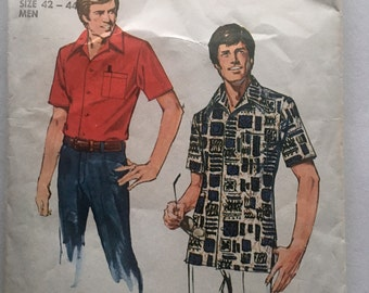 70s Simplicity 6368 Mens Jiffy Shirt with Collar and Set in Sleeves Size Large Chest 42 44