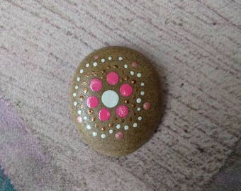 Hand Painted floral flower stone pebble rock.