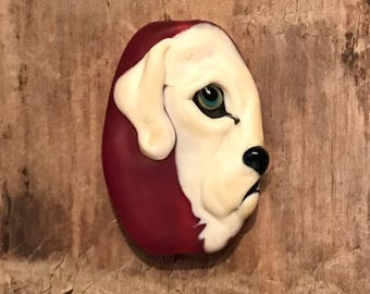 NEW! Yellow Lab Dog Focal Lampwork Glass Bead - Eye of the Domestic - Tile Style Collection