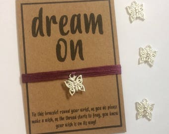 Dream on butterfly friendship wish charm bracelet