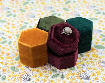 Velvet ring box - Hexagonal ring box - Wedding gift - Orange - Burgundy - Olive - Dark Green