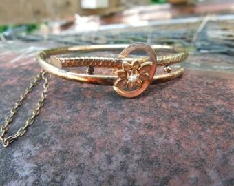 Victorian Bangle Bracelet Hinged Seed Pearl