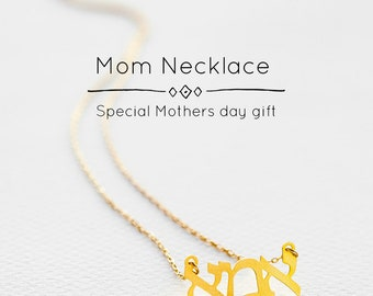 Mom necklace, Mother necklace, Mommy necklace, Mother pendant necklace, Monogram pendant, Hebrew necklace, Jewish necklace, mothers day gift