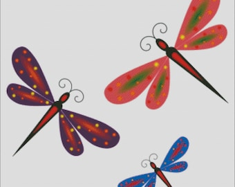 DRAGONFLIES counted cross stitch pattern PDF