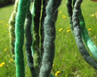 Felt Rope Cord Strings Felted Wool Dreads Green Forest Pine Spring Set of 3 Long Necklace Belt Hair Headband