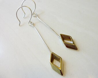 Golden Rhombus Dangle Earrings, Vintage Gold Brass Diamond, Geometric, Soldered Sterling Silver Ear Wires, Mixed Metals