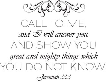 Jeremiah 33:3 | Bible Verse Wall Decor