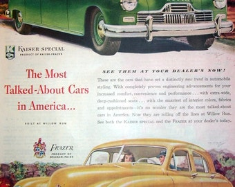 1946 Green Kaiser and Yellow Frazer Car Ad, Magazine Page, Original Magazine Print Page, Willow Run Production Lines, America Cars