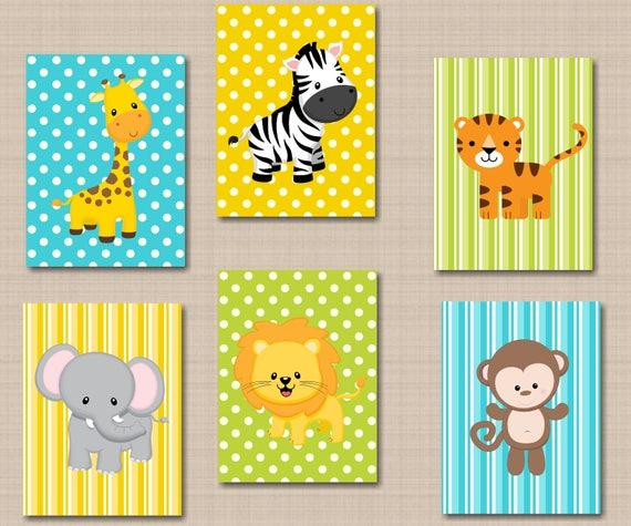 Jungle Animals Nursery Wall Art Safari Nursery Wall Art Zoo