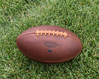 LEATHER HEAD Handsome Dan American Leather Football, Leather, Handmade F1-HD-Red