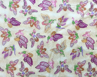 Enchanted Kingdom Fairy Toss Cream Color ~ by 1/2 yard, vintage, out of print, quilting cotton fabric ~ Henry Glass Fabrics