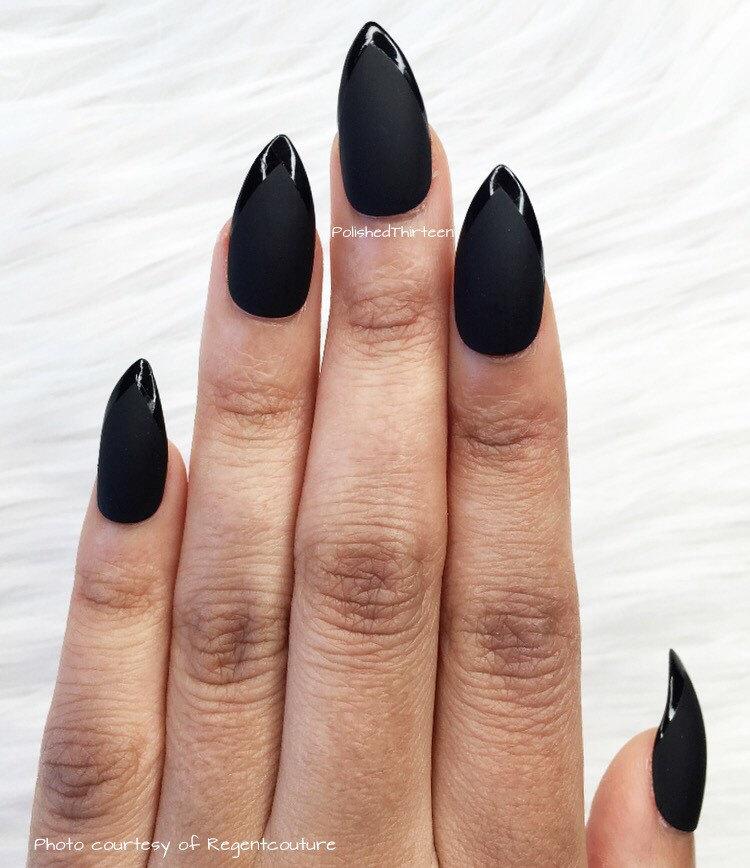 Black Matte And Gloss Faux Nails * Fake Nails * Matte Nails * Gloss ...