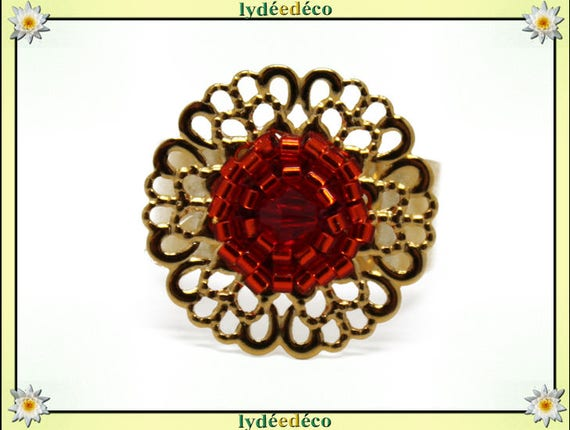 WILL print with brass flower ring gold 24 carat 24 K woven beads Japanese red orange colors 20mm adjustable