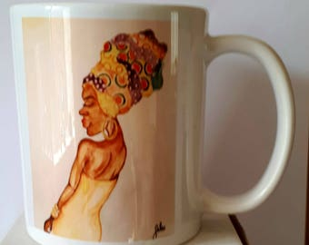 Special Caribbean Sale Colourful Printed Mug  Caribbean Woman with Head Wrap. Coffee Mug- Tea Mug - Gift