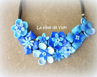 Half moon blue black floral hand-made polymer clay bib necklace