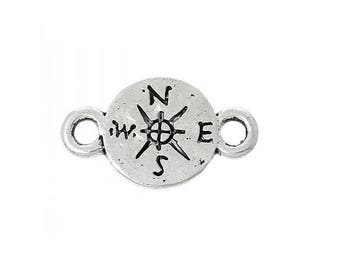 set of 3 compass North South West connector charm is silver plated (C21)