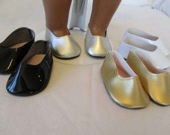 """18"""" Princess Doll Shoes or Flats to fit your American Girl Doll in Black White Red Gold Silver"""