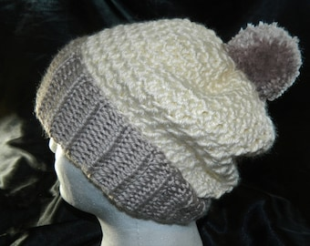 Crocheted Classic Slouchy Beanie Hat in Beiges with Pom