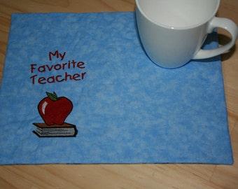 Favorite Teacher Mug Rug