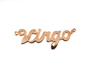Rose Gold Plated Astrological Name Plate Pendants - Virgo - (1X) (A616-D)