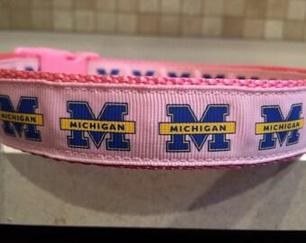 Michigan Pink Large and Medium Dog Collar