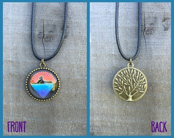Grateful Dead Cats Under The Stars Necklace with Tree of Life Back